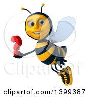 Clipart Of A 3d Male Bee Holding A Question Mark On A White Background Royalty Free Illustration