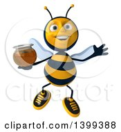 Clipart Of A 3d Male Bee Holding Honey On A White Background Royalty Free Illustration