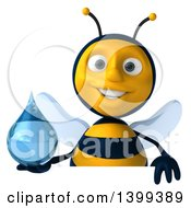 Clipart Of A 3d Male Bee Holding A Water Drop On A White Background Royalty Free Illustration