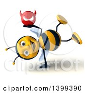 Clipart Of A 3d Male Bee Holding A Devil Head On A White Background Royalty Free Illustration