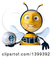 Clipart Of A 3d Male Bee Holding An Eyeball On A White Background Royalty Free Illustration