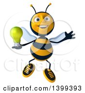 Clipart Of A 3d Male Bee Holding A Light Bulb On A White Background Royalty Free Illustration