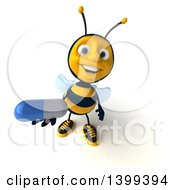 Clipart Of A 3d Male Bee Holding A Pill On A White Background Royalty Free Illustration