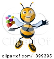 Clipart Of A 3d Male Bee With Speech Balloons On A White Background Royalty Free Illustration