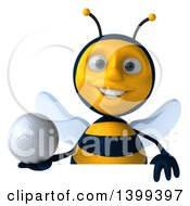 Clipart Of A 3d Male Bee Holding A Golf Ball On A White Background Royalty Free Illustration