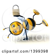 Clipart Of A 3d Male Bee Holding A Padlock On A White Background Royalty Free Illustration