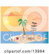 Poster, Art Print Of Santa Claus Vacationing And Relaxing On A Lounge Chair Beside Rudolph Under A Palm Tree On A Tropical Island At Sunset