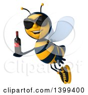 Clipart Of A 3d Male Bee Holding A Wine Bottle On A White Background Royalty Free Illustration
