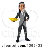 Clipart Of A 3d Arabian Business Man Holding A Banana On A White Background Royalty Free Illustration