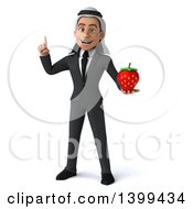 Clipart Of A 3d Arabian Business Man Holding A Strawberry On A White Background Royalty Free Illustration