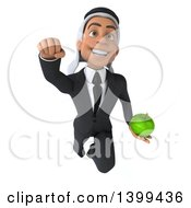 Clipart Of A 3d Arabian Business Man Holding A Green Apple On A White Background Royalty Free Illustration