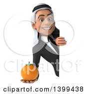 Clipart Of A 3d Arabian Business Man Holding A Navel Orange On A White Background Royalty Free Illustration