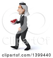 Clipart Of A 3d Arabian Business Man Holding A Beef Steak On A White Background Royalty Free Illustration