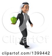 Clipart Of A 3d Arabian Business Man Holding A Green Bell Pepper On A White Background Royalty Free Illustration