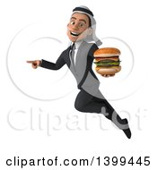 Clipart Of A 3d Arabian Business Man Holding A Double Cheeseburger On A White Background Royalty Free Illustration