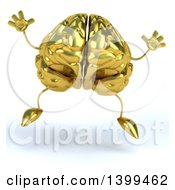 3d Gold Brain Character Jumping On A White Background