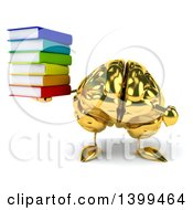 3d Gold Brain Character Holding Books On A White Background