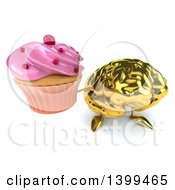 3d Gold Brain Character Holding A Cupcake On A White Background