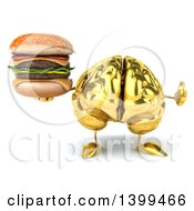 3d Gold Brain Character Holding A Double Cheeseburger On A White Background