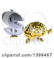 3d Gold Brain Character Holding A Usd Symbol On A White Background