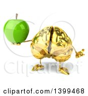3d Gold Brain Character Holding A Green Apple On A White Background