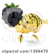 3d Gold Brain Character Holding A Blackberry On A White Background