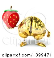 3d Gold Brain Character Holding A Strawberry On A White Background