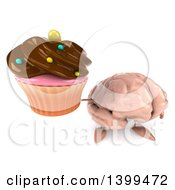 3d Brain Character Holding A Cupcake On A White Background