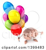 3d Brain Character Holding Party Balloons On A White Background