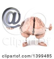 3d Brain Character Holding An Arobase Symbol On A White Background