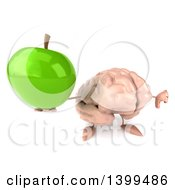 3d Brain Character Holding A Green Apple On A White Background
