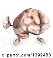 3d Acrylic Brain Character On A White Background