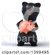 Clipart Of A 3d Black Business Bear Holding A Piggy Bank On A White Background Royalty Free Illustration
