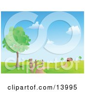 Road Winding Along A Fence By A Tree Leading To A Red Barn In The Distance On A Hilly Landscape Clipart Illustration