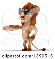 3d Male Lion Holding A Pizza On A White Background