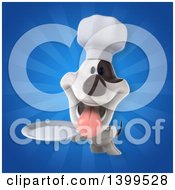 Clipart Of A 3d Chef Jack Russell Terrier Dog Over Rays Royalty Free Illustration
