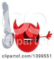 Clipart Of A 3d Red Devil Head On A White Background Royalty Free Illustration