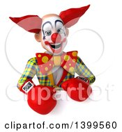 3d Funky Clown Boxer On A White Background