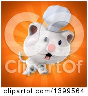 Clipart Of A 3d White Chef Cat Royalty Free Illustration