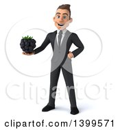 Clipart Of A 3d Young White Businessman Holding A Blackberry On A White Background Royalty Free Illustration
