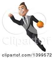 Clipart Of A 3d Young White Businessman Holding A Navel Orange On A White Background Royalty Free Illustration