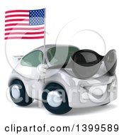 Clipart Of A 3d Happy White Porsche Car Holding An American Flag On A White Background Royalty Free Illustration