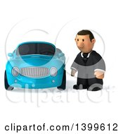 Clipart Of A 3d Short White Business Man By A Convertible Car On A White Background Royalty Free Illustration
