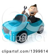 Clipart Of A 3d Short White Business Man Driving A Convertible Car On A White Background Royalty Free Illustration