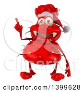 Clipart Of A 3d Red Christmas Germ Virus On A White Background Royalty Free Illustration