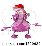 Clipart Of A 3d Purple Christmas Germ Virus On A White Background Royalty Free Illustration
