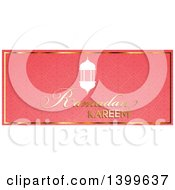 Clipart Of A Ramadan Kareem Background With A Lanterns On Pink Royalty Free Vector Illustration