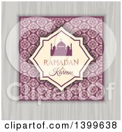 Clipart Of A Ramadan Kareem Background With A Silhouetted Mosque Over Floral And Wood Royalty Free Vector Illustration