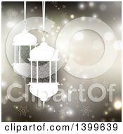 Clipart Of A Ramadan Kareem Background With A Lanterns Over Flares And Stars Royalty Free Vector Illustration