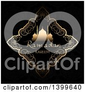 Clipart Of A Ramadan Kareem Background With A Silhouetted Mosque In A Gold Frame On Black Royalty Free Vector Illustration